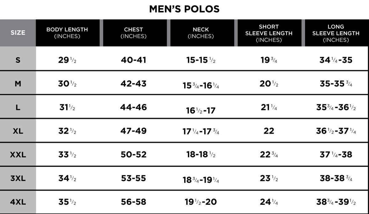 Size chart greg norman collection gnc men sizingg nvjuhfo Choice Image